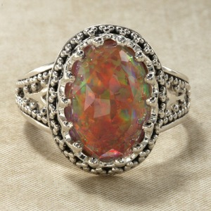 sajen radiant orange opal quartz ring
